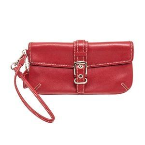 Coach Red Leather Buckle Wristlet